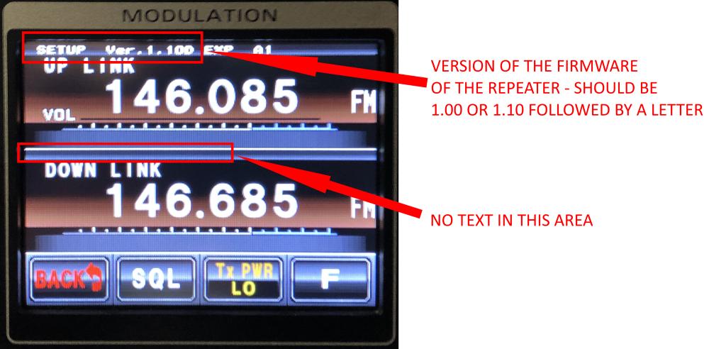 Yaesu DR-1X firmware screen