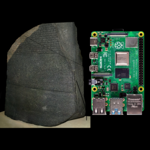 rosetta stone next to a raspberry pi board
